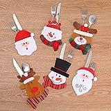 ZengBuks Weihnachten Besteck Halter Taschen Dinner Dekor Messer Gabeln Tasche Weihnachten Tischdekoration für Party Restaurant - Multicolor