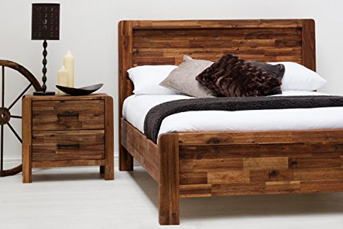Chester Handcrafted Solid Wooden Bed Frame, Country Farmhouse Style - Rustic Java or Teak Double or King Size - By Sleep Design (Double, Rustic Acacia)
