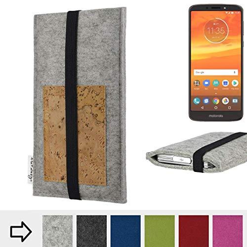 flat.design Handy Hülle Sintra für Motorola Moto E5 Plus Dual-SIM maßgefertigte Handytasche Filz Tasche Schutz Case Kartenfach Kork