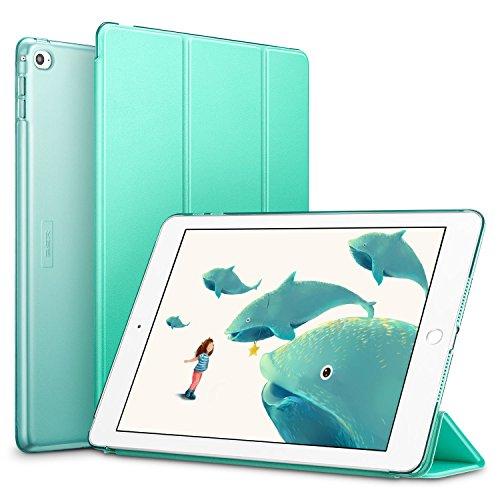 ESR Funda iPad Air 2 Silicona [Auto-Desbloquear] y Función de Soporte [Ligera] de Cuero Sintético y Plástico Duro Transparente Esmerilado Smart Cover Cáscara para Apple iPad Air 2 -Menta