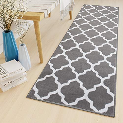 Tapiso Luxury Läufer Teppich Flur Korridor Kurzflor Brücke Modern Grau Weiss Geometrisch Marokkanisch Gitter Muster ÖKOTEX 100 x 160 cm