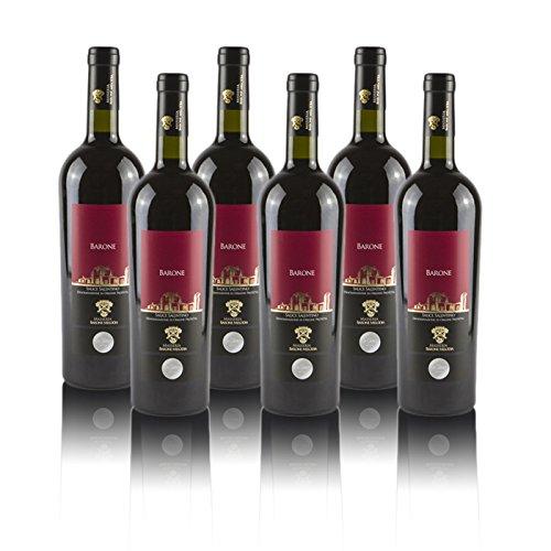 """Masseria Barone Melodia Vino Rosso""""Barone"""" Salice Salentino DOP Puglia 2015 - Box da 6 Bottiglie da 75 cl"""