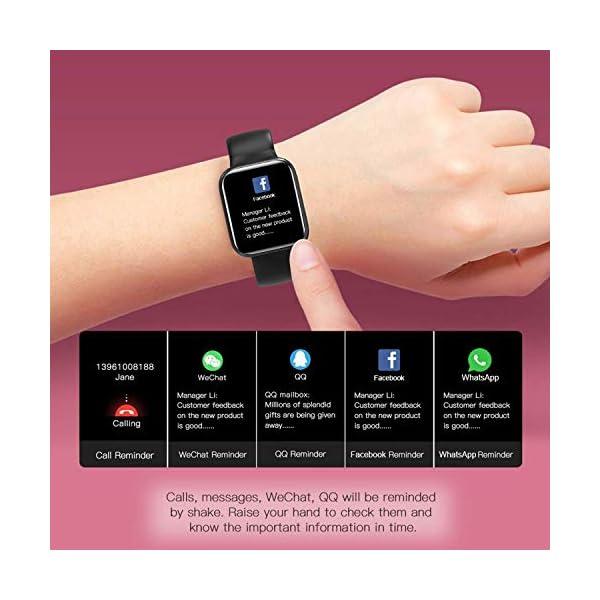 Smartwatch Reloj Resistente Hombre Mujer Niños Monitor Pulso Cardiaco Pulsera Actividad Reloj Inteligente Cardio Podómetro Bluetooth Reloj Deportivo Rastreadores Cronómetro para Android iOS(Negro) 4
