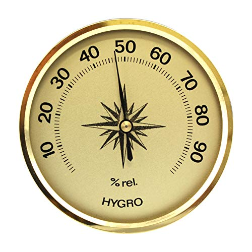 Lantelme Mini Analog Hygrometer Farbe Gold Luftfeuchte Anzeige Made in Germany 4923
