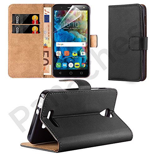 alcatel-pop-4-50-5051x-leather-wallet-flip-book-case-cover-pouch-screen-protector-polishing-cloth-bl