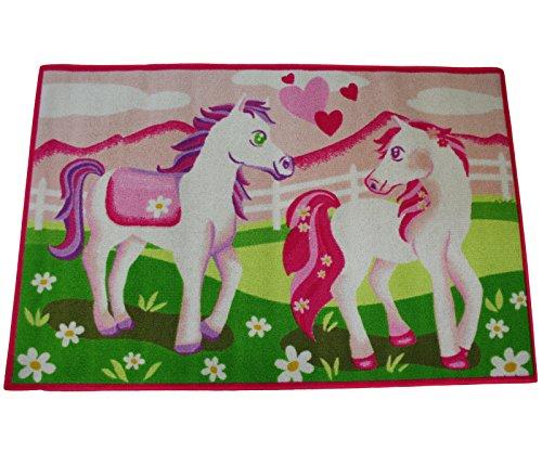 Kinderteppich Pony 120 x 80 cm Spielteppich Kinderzimmer Pink Teppich Pferde