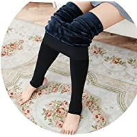Leggings para Pies para Mujeres, Adelgazamiento Delgado Y Cálido, Más Pantalones de Terciopelo de Terciopelo,Negro,Una Talla