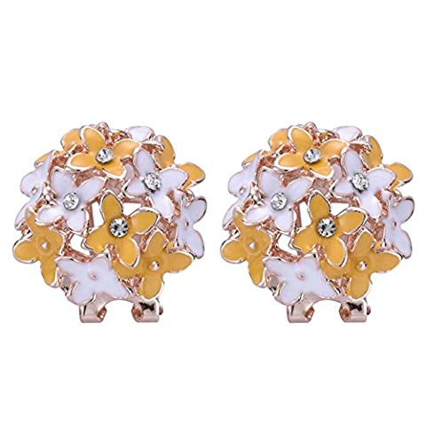 XZQ-Hot Fashion Women Girl Gold Plated Flower Cluster Crystal Ear Clip Stud Earrings ,Yellow