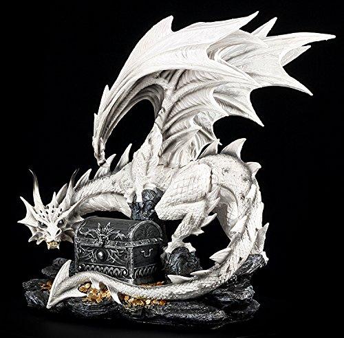 Große weiße Drachen Figur bewacht Schatztruhe - 5
