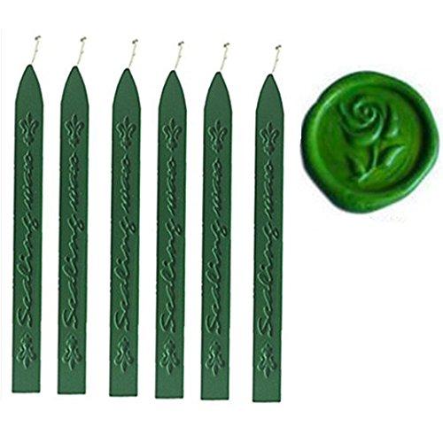 �n Wachs Sticks mit leitet für dekorative Hochzeit Einladungen Wachssiegel fadensiegelung Stempel Geschenk Karten Siegelwachs 6 Stück grün (Grüne Hochzeit Einladungen)