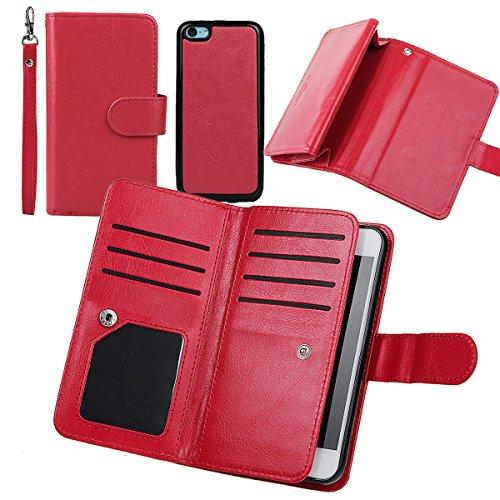iPhone 5/iPhone 5S SE Hülle wallet case,xhorizon TM FM8 2 in 1 Premium Leder [Brieftasche Funktion] [Magnetisch Abnehmbar] Wristlet Geldbörse Mehrfache Karten-Schlitze Abdeckung Folio Schutzhüller für Rote
