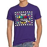 style3 Televisione Monoscopio T-Shirt da Uomo Sheldon televisivo, T-Shirt Hauptfarbe Alt:Viola;T-Shirt Größe Alt:L