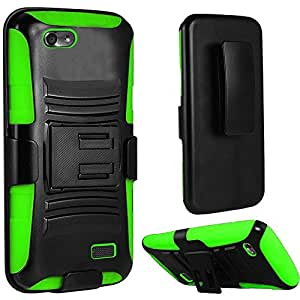 For Huawei Raven LTE H892L Phone Case, Bastex Dual Layer Hybrid Side Kickstand Cover Case With Holster Clip - Black+Neon Green