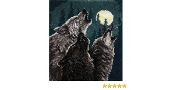 """Latch hook rug kit  /""""Wolves in Harmony/""""  Animal rug by MCG Textiles"""