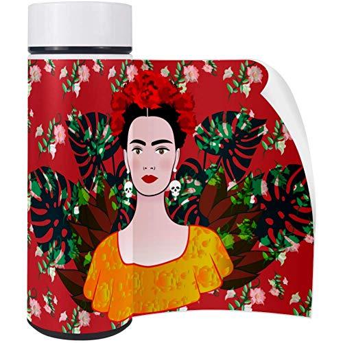 Bennigiry Death's Day Frida Kaklo Woman Kaffeetasse Edelstahl Thermos doppelwandig vakuumisoliert Wasserflasche Becher PU Leder Bezug doppelwandig 417 oz Womens Thermo
