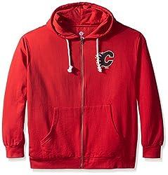 NHL Calgary Flames Women's Full Zip Fleece Logo Distressed Screen Print Hoodie, 1X, Red/White