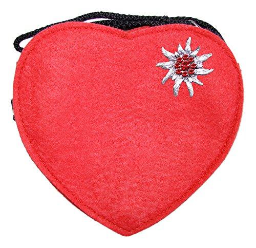 Herz Trachtentasche mit Edelweiß Rot