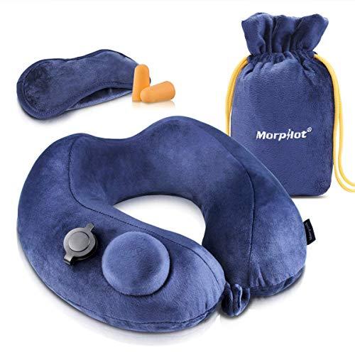 Morpilot cuscino da viaggio gonfiabile, cuscino cervicale da viaggio, cuscino aereo viaggio con supporto per il collo,maschera da sonno 3d,tappi per orecchie,per auto,aereo,ufficio,domestico ecc, blu