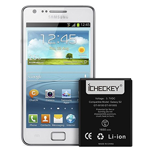 Original Ersatz Li-ionen Akku (ICHECKEY 1650mAh Accu Externer Akku für Samsung Galaxy S2 Li-Ion Batterie EB-F1A2GBU Ersatzakku i9100 Battery ohne NFC)