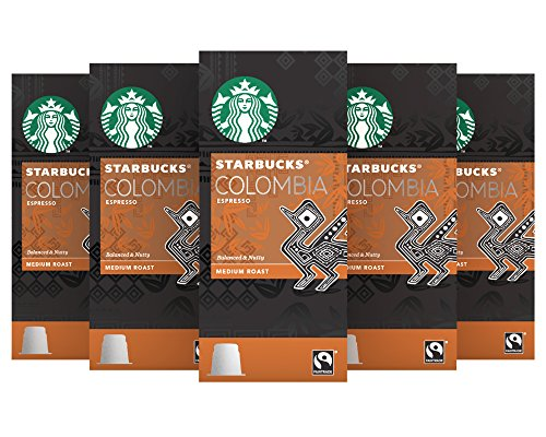Find Starbucks Colombia Espresso Capsules Nespresso* Compatible (Pack of 5, Total 50 capsules) by Starbucks