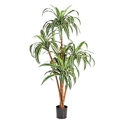 Kunstpflanze Dracaena fragrans Variegeta - Drachenbaum, Höhe 120cm - 110 Blätter