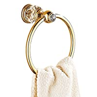 AUSWIND Gold Polished Towel Rings , Antique Copper Wall Mounted with False Crystal Decorate by AUSWIND