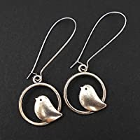 Silver Bird Earrings, Extra Long, includes Gift Box