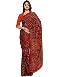 Ligalz Women's Maroon And Orange Crepe Silk Saree (Special Discounted Price Only For THE GREAT INDIAN FESTIVAL)