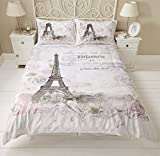 Bettwäsche Set - Paris, Eiffelturm mit Blumenmuster, Wendebettwäsche - Doppelbett