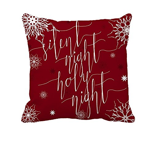 Suppear Silent Night, Holy Höhe, Christmas Carol inspirierendes Zitat Home Decor Werfen Kissenbezug Baumwolle Polyester (Carol-zitate A Christmas)
