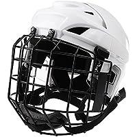 perfk Casco Ajustable del Casco del Hockey Sobre Hielo Y Máscara Facial para Los Hombres Y Las Mujeres Blancos - M