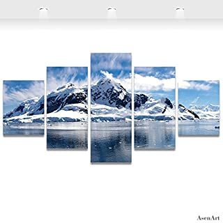 5 Piece Canvas Art Snow Mountain Landscape Canvas Prints Framed Wall Painting,Large Size 150cmX80cm,Ready to hang