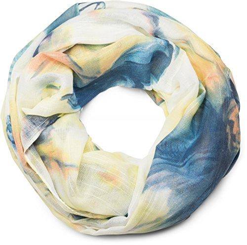 styleBREAKER Loop Schlauchschal mit Aquarell Blumen Print, Schal, Tuch, Damen 01016133, Farbe:Blau-Gelb