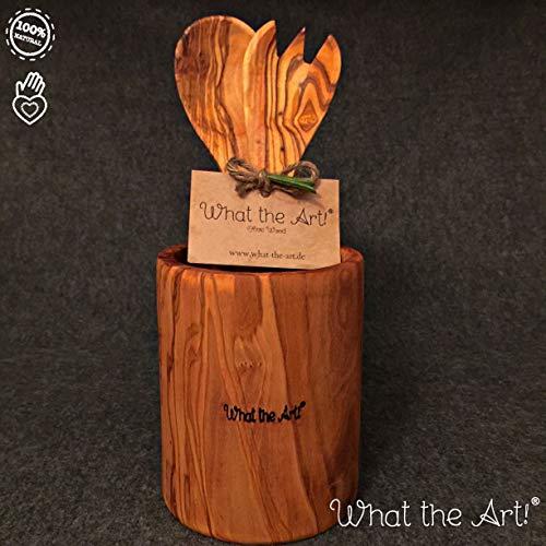 What the Art! Olive Wood | Olivenholz Besteckbehälter inkl. Salatbesteck + Geschenk | Gr. XL | Ø 11cm x ↑ 14cm | Köcher - Besteckfass - Besteckkorb - Besteckset - Stifthalter