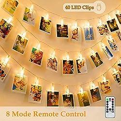 Led Fotoclips Lichterkette, Led Lichterkette, 6m/40 Foto Clips Lichterkette, 8 Mode Fernbedienung LED Dekoration Lichterkette für Hängendes Foto, Party, Weihnacht (Warmweiß)
