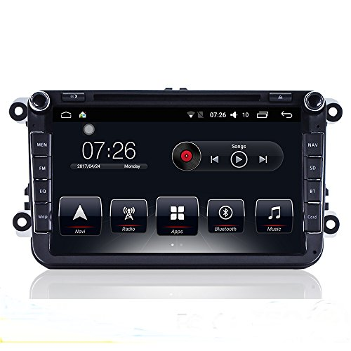 D-NOBLE Car DVD Player Android Stereo 8 inch 1G/16G Bluetooth 4.0 GPS Navigation Multimedia Player with RDS Radio WiFi Link Mirror for VW Passat Golf 5 6 Touran Tiguan Transporter T5 Multivan Polo