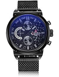 Naviforce reloj de hombres de moda deporte Militar analógico de acero inoxidable reloj de pulsera de cuarzo con fecha (gris)