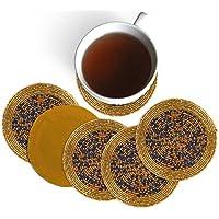 Rudra ® Set di 6 mano perline multicolore Tea Coasters - tovagliette per il tè Coppe 4 pollici - Set di Drink Coaster assorbente - Regalo di Natale con Portachiavi in ??legno