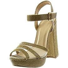 b6230edfd5d Angkorly - Zapatillas Moda Sandalias Mules Plataforma Correa de Tobillo  Peep-Toe Mujer Brillantes Brillante