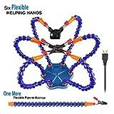 LITEBEE Flexibel Helfende Hände, Loeten Dritte Hand löthilfe, Lötstation Werkzeug (Flexible 7 Arme Helfende Hände, 360 Grad schwenkbare Clips, bürstenlosen DC-Ventilator) Blau
