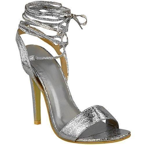 Neuves Pour Femmes Talon Haut Barely There À Lanières Lacets Nœud Sandales Chaussures Pointure Argent Froissé