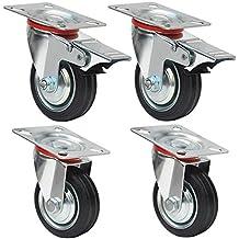 Yahee 4er Set Transportrollen Schwenkrollen Möbelrollen Laufrolle Gummi lenkbar 75mm 50kg Tragkraft 2 mit Bremse