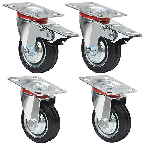 Yahee 4er Set Transportrollen Schwenkrollen Möbelrollen Laufrolle Gummi lenkbar 75mm 50kg Tragkraft 2 mit Bremse Test