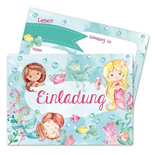 Papierdrachen 12 Einladungskarten zum Kindergeburtstag für Mädchen - Motiv Meerjungfrau - Geburtstagseinladungen für Deine Geburtstagsparty (DIN A6 mit abgerundeten Ecken) -