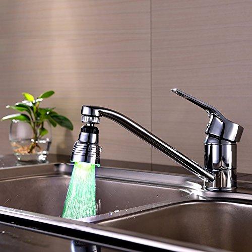 powerlead pd1184LED-Wasserhahn Wasserhahn Temperature Controlled 3Farbwechsel Drehen 360Grad Hitze Verfärbung Zirkular Wasserhahn Wasser Mund für Badezimmer/Küche -