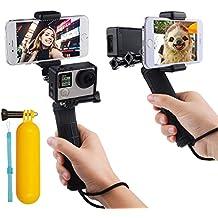 First2savvv GO-ST-GJ-A01FLB negro mango la estabilización de empuñadura para GoPro Hero con doble montaje, adaptador de trípode y de soporte para telefono universal - Grabar la cámara de video con 2 diferentes angulos de forma simultanea para Gopro Hero 4 HERO 5, Session, Black, Silver, Hero+ LCD, 3+, 3, XIAOMI 1 YI 2 4K SJ5000 SJ6000 + palo de la flotabilidad