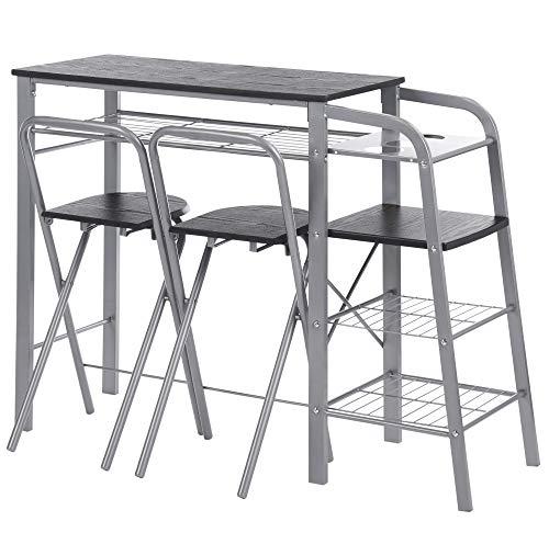ts-ideen 3-teilige Essgruppe Frühstückstisch Stuhl Theke Tisch Bar Schwarz Regal Metall + MDF (Kleines 3-teiliges Küchen-tisch-set)