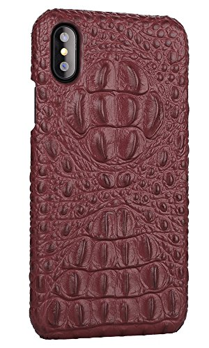 Burgund Korn (iPhone 8 Hülle ,VENTER® Luxus 3D Krokodil Korn Haut Textur Echt Leder Stoßstange Fall Shockproof Hard Back Cover für iPhone 8)