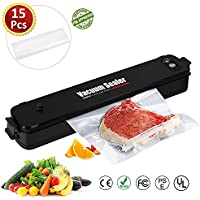 Cadrim Food Vacuum Sealer Machine One-Touch Automatic Packaging Vacuum Sealer with 15 Premiun Seal Bags for Meat, Eggs, Vegetables, Fruit Storage (Black New)
