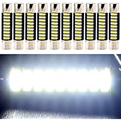 "EverBright ( Pack of 10 ) 29MM 1.14"" Super White 4014 9-SMD LED Mirror Fuse Sun Visor 6641 6612F 12V Festoon Dome Light LED Bulbs"